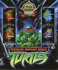 Gambia 2009 estampillada sin montar o nunca montada Teenage Mutant Ninja Turtles 25th aniversario 4v m/s Tnmt sellos
