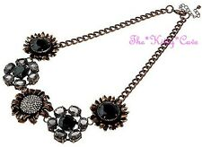 Stunning Artisan Monotone Jewels Flower Floral Cluster Statement Collar Necklace