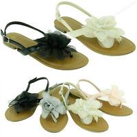 Women's Sandal Cute Ruffle Flower Thongs Flats Sandal Gladiator Style Flip Flop