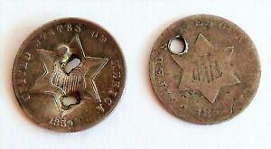 Vintage 1859 &1850's US Silver 3 Cent Piece Coin Lot - Civil War Soldier Worn