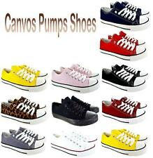 Ladies Womens Flat Lace Up Girls Pumps Canvas Plimsolls Trainers Shoes Casual