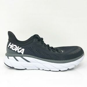 Hoka One One Womens Clifton 7 1110509 BWHT Black Running Shoes Lace Up Size 7.5