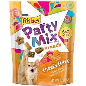 Friskies Party Mix Cat Treats, Cheezy Craze Crunch, Cheddar, Swiss & Monterey