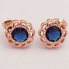 Pretty New Rose Gold Plated Round Sapphire Blue CZ Flower Set Stud Earrings