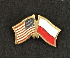 Poland and US Crossed Flags, Motorcycle Hat Cap Lapel Pin, new