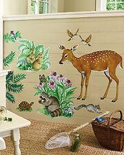 Woodland Animals Wall Murals Deer Rabbits Birds Racoon Turtle Flowers Stickers