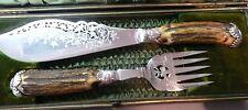 Beauty Antique WB & CO. Horn & Silver Salad Serving Set Fork & Knife