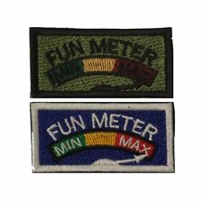 US Military Style Velcro Fun Meter Patch in Subdued Olive and Full Colour 1x2in