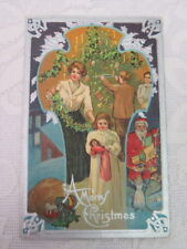 Vintage Christmas Postcard, Decorating the Tree, Night Before Christmas Series