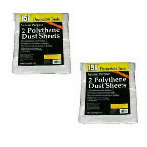 4 Large Polythene Dust Sheet Cover DIY Decorators Painting Furniture 2.7m x 3.6m