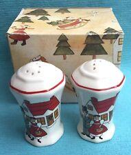 Rare boxed Masons Christmas Village salt and pepper cruets