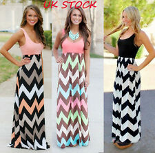 Womens Striped Long Boho Dress Lady Beach Summer Sundrss Maxi Dresses Plus Size