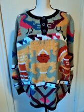 VTG BEREK 1989 Marta D Uruguay Handknit Aztec Theme Pullover Sweater Sz. L MINT