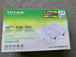TP-Link TL-PA4010P KIT V2 AV600 Passthrough Powerline Starter Kit Used V.Good