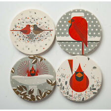 New Charley Harper Red Cardinal Set of 4 Absorbent Stone Coasters + Wood Stand
