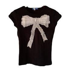 Delias Vintage 90s Polka Dot Rhinestone Bow Applique Fitted T-shirt Medium Black