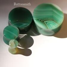Pair of Green Agate Organic Stone Plugs Double Flared - 6mm - 25mm -10sz