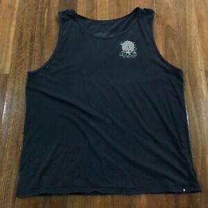 Hurley Recordings Black Sleeveless Singlet Tank T-Shirt Size 2XL