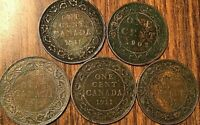 CANADA LARGE CENT PENNY LOT OF 5 COINS
