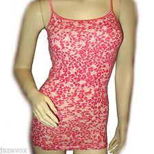 AEROPOSTALE AERO Womens Sleeveless Spaghetti Top Cami Camisole S Pink Red White