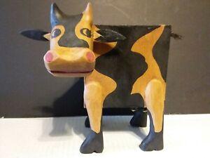 NEW - FOLK ART WOOD COW BANK - INDONESIA