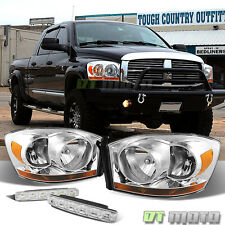 For 2006 Dodge Ram Replacement Headlights Chrome Lamps+LED Bumper Fog Lights