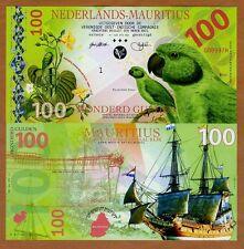 Netherlands Mauritius 100 Gulden, 2016 Private POLYMER, UNC > Newton's Parakeet