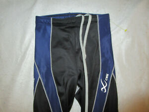 CW-X WOMEN'S COMPRESSION PANTS BLUE BLACK GRAY SMALL USED TRAINING POLYESTER