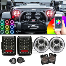 7 inch LED RGB Halo Headlight +Turn Signal+ Fender Light +Tail Light For Jeep JK