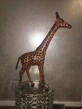 Vintage Handmade Leather Giraffe Statue