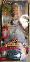 "Disney GLITTER PRINCESS CINDERELLA 12"" Barbie Doll + Girls Tiara Mattel 2005"