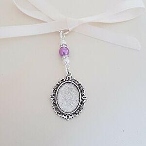 Wedding Bouquet Charm Oval Silver Locket 2 white 1 light purple pearls Gift bag