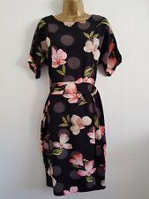 NEW Ex Wallis 10-16 Spotted Black Pink Floral Print D Ring Shift Midi Dress