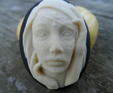 Gothic Zombie girl   cameo silicone push mold mould resin, sugar Craft USA