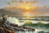 ZWPT1083 ocean seascape sea wave handmade painted oil painting art on Canvas