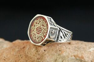Seal Of Solomon Ring  Turkish Handmade Ottoman Style 925 Sterling Men Size 8