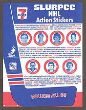 1984-85 7-11 Hockey Checklist Sheet, Gretzky, etc