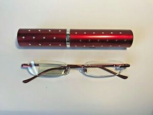 Foster Grant Reading Glasses  -Red case with diamantes - with bag - RRP £12.50