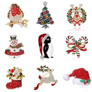 Christmas Brooch Badge Pins Rhinestone Enamel Broach Red Robin Xmas Party Gift