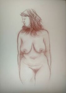 standing full bodied nude woman on white paper A3
