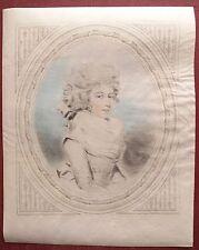 Eau-forte aquarellée, Portrait de femme, Ecole anglaise
