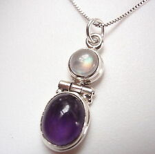 Amethyst and Moonstone 925 Sterling Silver Pendant Corona Sun Jewelry