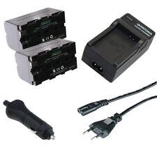 2x Batteria Patona + caricabatteria casa/auto per Sony HDV-FX1,HDV-Z1,HVL-20DW