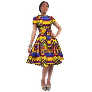 African Women Dashiki Cotton Wax Print Knee-Length Dress X11933