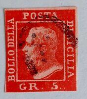 SICILIA - ITALIA - 1859 - REY FERDINANDO II  (1 Und ) 5 Gr CARMIN