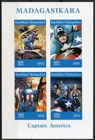 Madagascar 2019 MNH Captain America 4v IMPF M/S Comics Marvel Superheroes Stamps