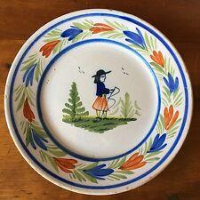 "Antique Quimper Faïence Handpainted Breton Man French Plate, 7 3/4"""