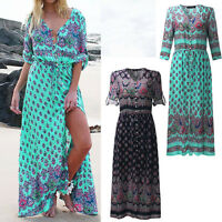 Women's Summer Boho Vintage Evening Cocktail Dress Long Maxi Floral Sundress New