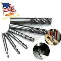 "6Pcs Carbide Coated CNC 4 Flute Spiral Bit End Mill Cutter set 1/8""-5/8"" Shank"