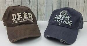Lot 2 Mossy Oak Turkey Thug & DEER Team Realtree Cap Hat Hunting Outdoors Strap